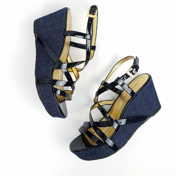 48eb373f69283 kate spade Shoes - Kate Spade Bijou Navy Denim Wedge Sandals